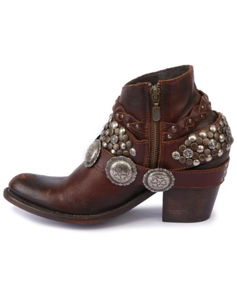 Liberty Black Women's Toscano T-Moro Concho Harness Booties - Round Toe , Brown, hi-res