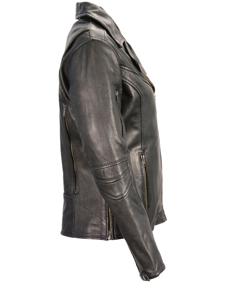 Milwaukee Leather Women's Lightweight Long Length Vented Biker  Leather Jacket, Black, hi-res