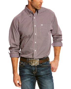 Ariat Men's Maroon Zerman Print Shirt , Maroon, hi-res