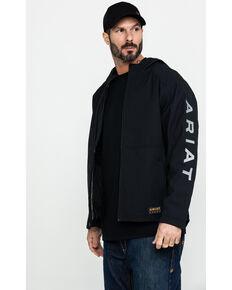 Ariat Men's Black Rebar Stretch Canvas Softshell Hooded Logo Work Jacket , Black, hi-res