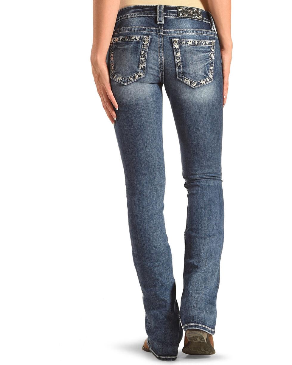 Miss Me Women's Blue Floral Border Pocket Jeans - Boot Cut , Blue, hi-res