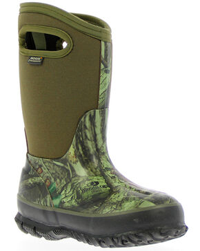 Bogs Boys' Classic Mossy Oak Waterproof Boots - Round Toe, Green, hi-res