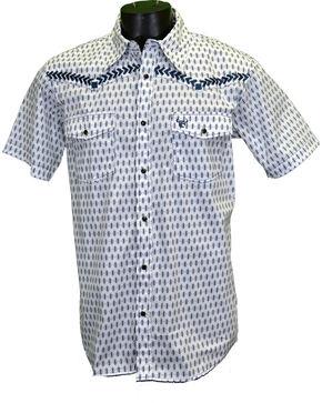 Cowboy Hardware Men's Diamond Short Sleeve Western Snap Shirt, White, hi-res