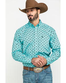 Ariat Men's Kulpten Stretch Geo Print Long Sleeve Western Shirt - Tall , Blue, hi-res