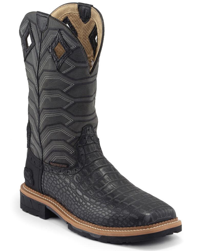 Justin Men's Derrickman Croc Print Western Work Boots - Soft Toe, Black, hi-res