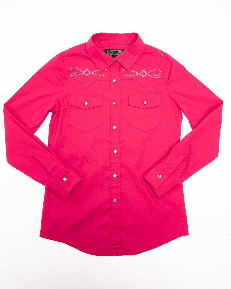 Shyanne Girls' Solid Rhinestone Button Down Western Shirt, Pink, hi-res