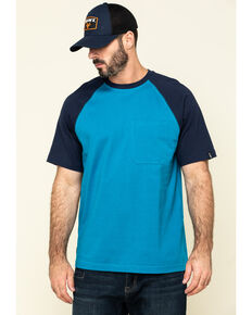 Hawx Men's Teal Midland Short Sleeve Baseball Work T-Shirt , Teal, hi-res
