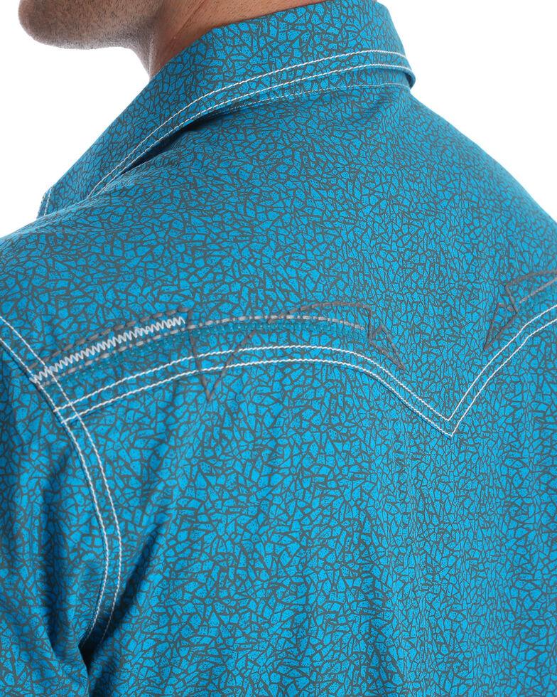 Rock 47 by Wrangler Men's Teal Print Long Sleeve Western Shirt , Teal, hi-res
