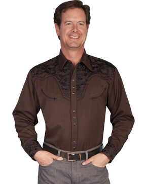 Scully Men's Black Embroidered Gunfighter Shirt - Big & Tall, Chocolate, hi-res