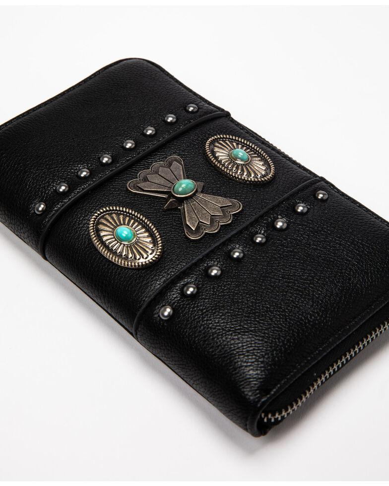 Shyanne Women's Black Concho Wallet, Black, hi-res