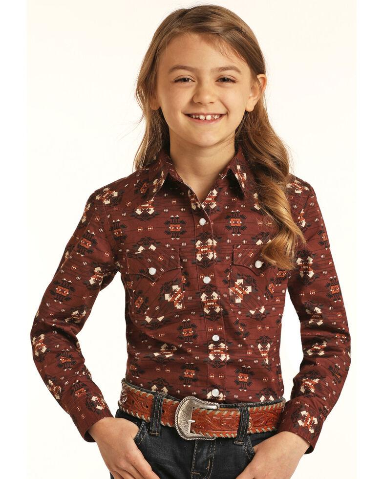 Rough Stock By Panhandle Girls' Brick Aztec Print Long Sleeve Snap Western Shirt , Brown, hi-res