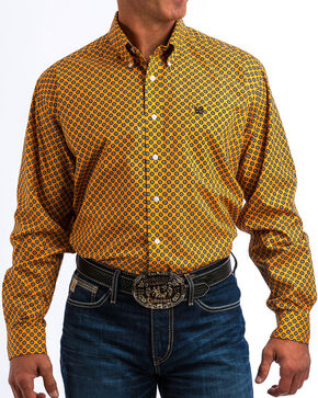 Cinch Men's Orange Octagon Print Western Shirt , Orange, hi-res