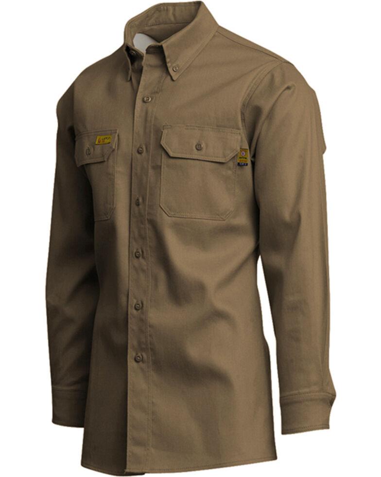 Lapco Men's Khaki FR Long Sleeve Uniform Work Shirt , Beige/khaki, hi-res
