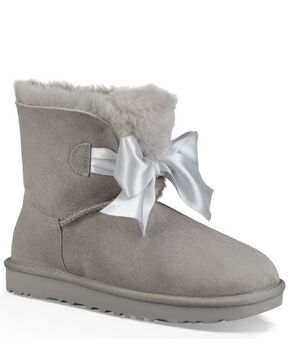 UGG Women's Seal Gita Bow Mini Boots - Round Toe, Grey, hi-res