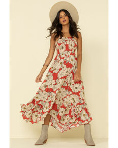 Free People Women's Sunset Heatwave Maxi Dress, Coral, hi-res