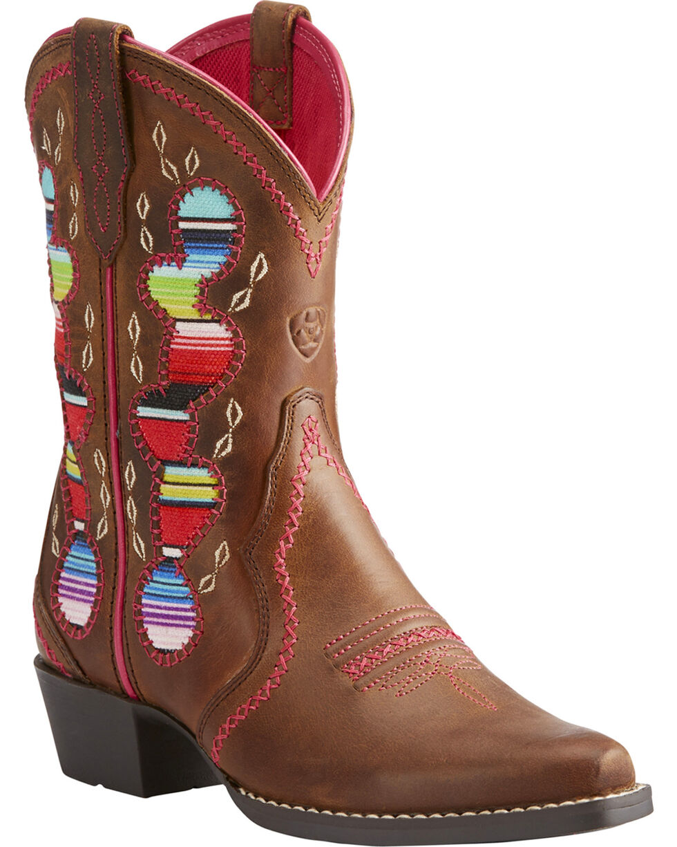 Ariat Girls' Brown Desert Diva Leather Boots - Snip Toe , Brown, hi-res
