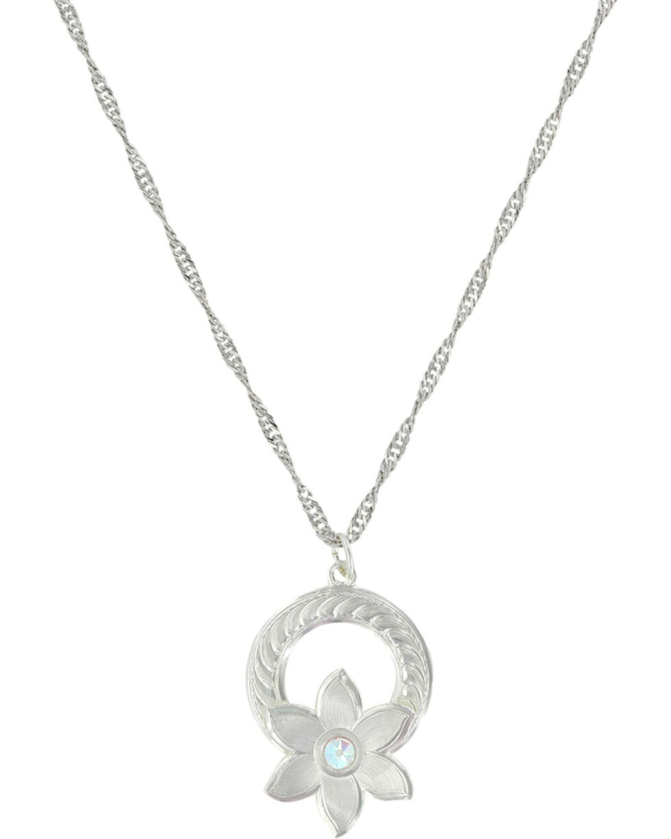 Montana Silversmiths Women's Silver Flower Garland Necklace , Silver, hi-res