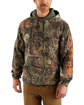 Carhartt Men's Midweight Camo Sleeve Logo Hooded Sweatshirt, Multi, hi-res