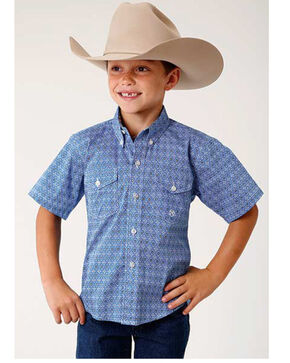 Roper Boys' Amarillo Blue Geo Print Button Long Sleeve Western Shirt , Blue, hi-res