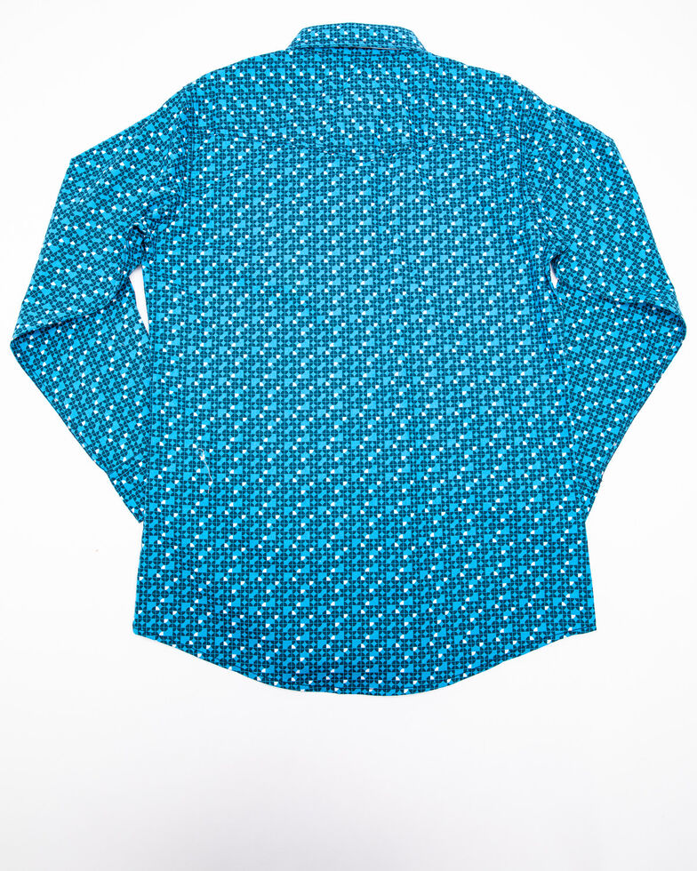 Wrangler 20X Boys' Competition Print Long Sleeve Western Shirt , Turquoise, hi-res