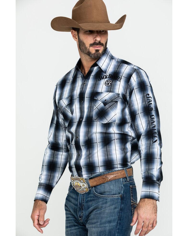 Jack Daniels' Men's Black Embroidered Large Plaid Long Sleeve Western Shirt , Black, hi-res