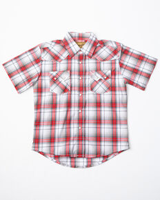 Wrangler Retro Boys' Black & Red Plaid Short Sleeve Western Shirt, Black/red, hi-res