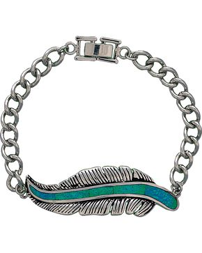 Montana Silversmiths Women's Storyteller Feather Bracelet, Silver, hi-res
