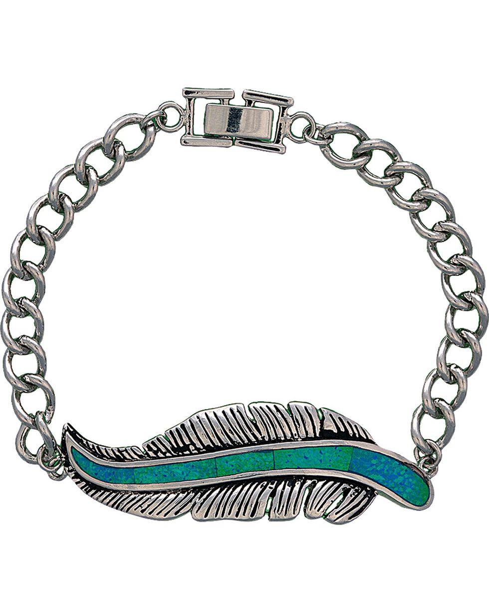 Montana Silversmiths Women's Storyteller Feather Bracelet, Silver, hi-res