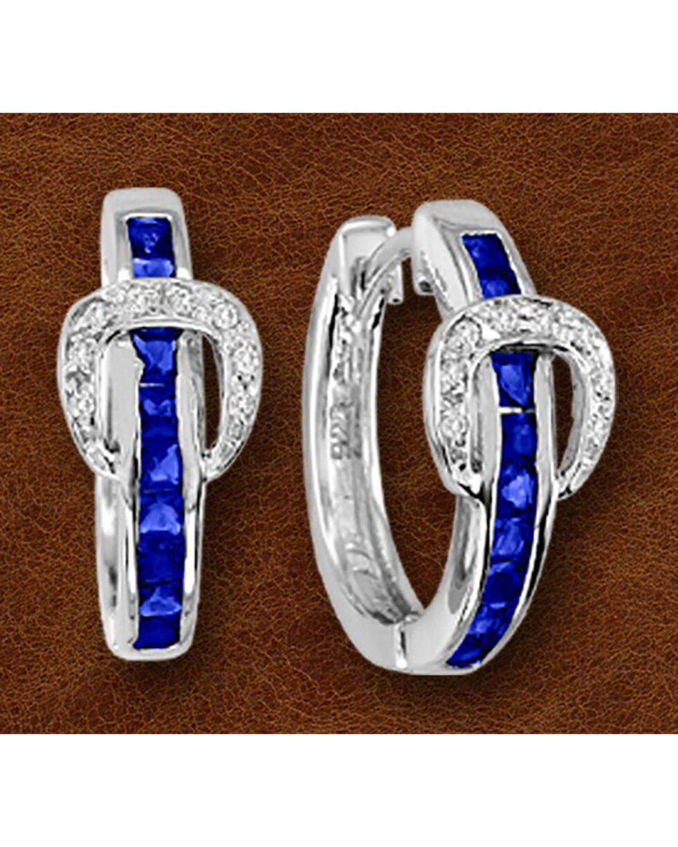 Kelly Herd Sterling Silver Blue Rhinestone Buckle Earrings, Silver, hi-res