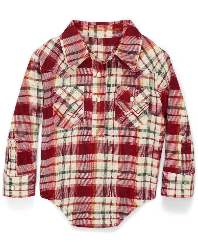 Wrangler Infant Girls' Red Plaid Long Sleeve Flannel Onesie , Red, hi-res