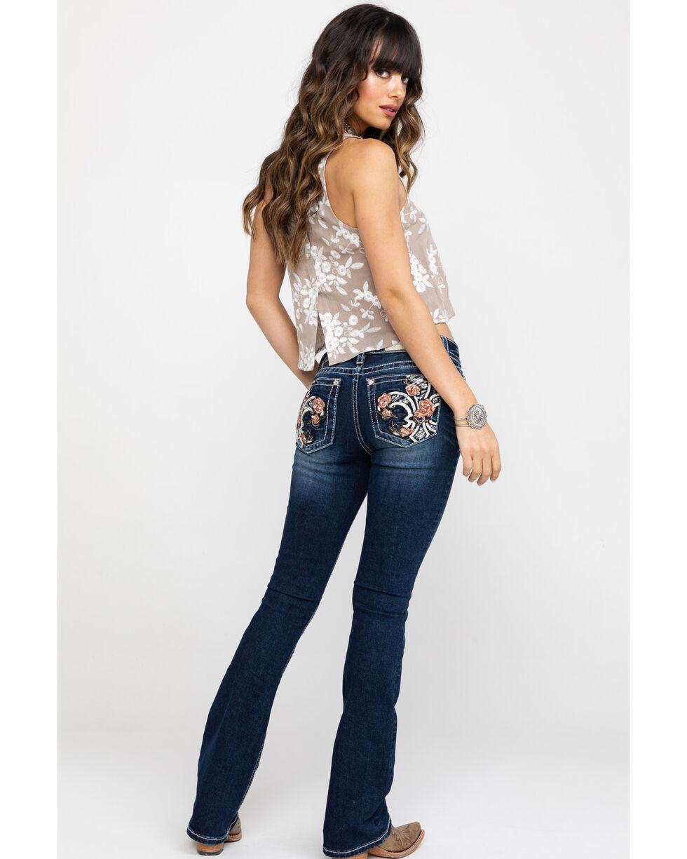 """Miss Me Women's Floral Fleur Dark Wash Bootcut 32"""" Jeans, Blue, hi-res"""