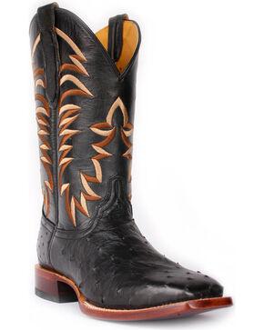 Cinch Men's Full Quill Ostrich Square Toe Exotic Boots, Black, hi-res