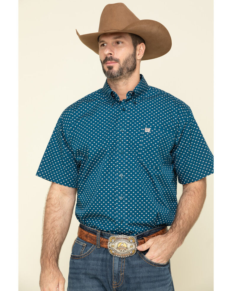 Cinch Men's Blue Diamond Geo Print Short Sleeve Western Shirt - Big , Blue, hi-res