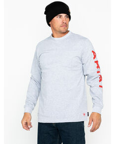 Ariat Men's FR Pocket Crew Logo T-Shirt, Heather Grey, hi-res