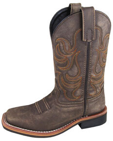 Smoky Mountain Boys' Leroy Western Boots - Wide Square Toe, Chocolate, hi-res