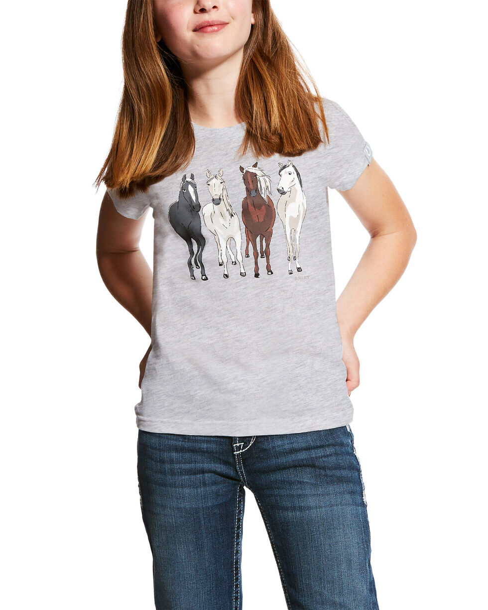 Ariat Girls' 360 View Horse Graphic Tee , White, hi-res
