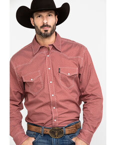 Cinch Men's Red Geo Print Snap Long Sleeve Western Shirt , Red, hi-res