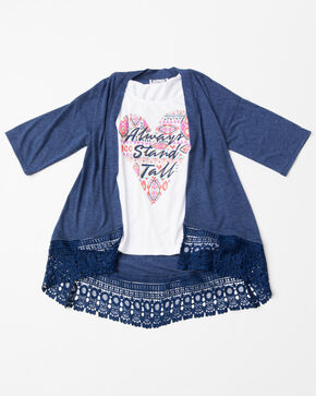 Shyanne Girls' 3-FER Aztec Printed Lace Long-Sleeve Cardigan , Navy, hi-res