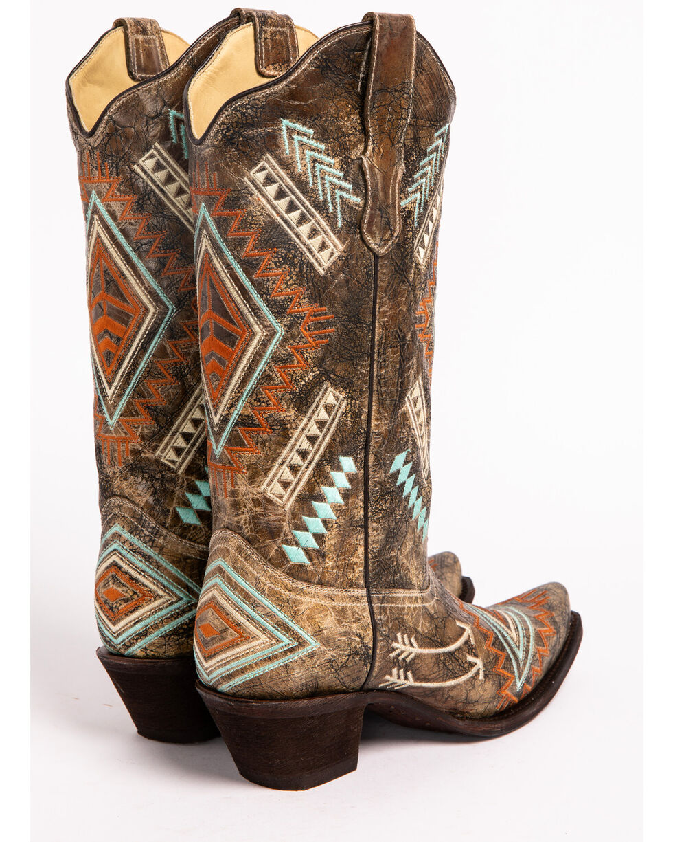 Corral Women's Diamond Embroidered Western Boots, Black, hi-res