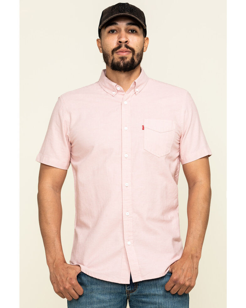 Levi's Men's Pink Rowney Dobby Plaid Short Sleeve Western Shirt , Pink, hi-res