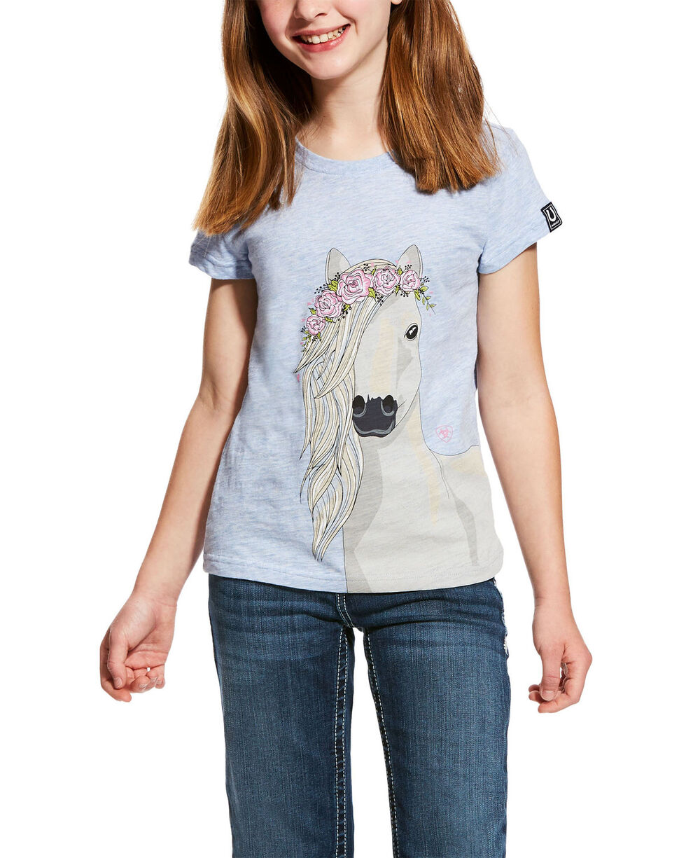 Ariat Girls' Festival Horse Graphic Tee , Light Blue, hi-res