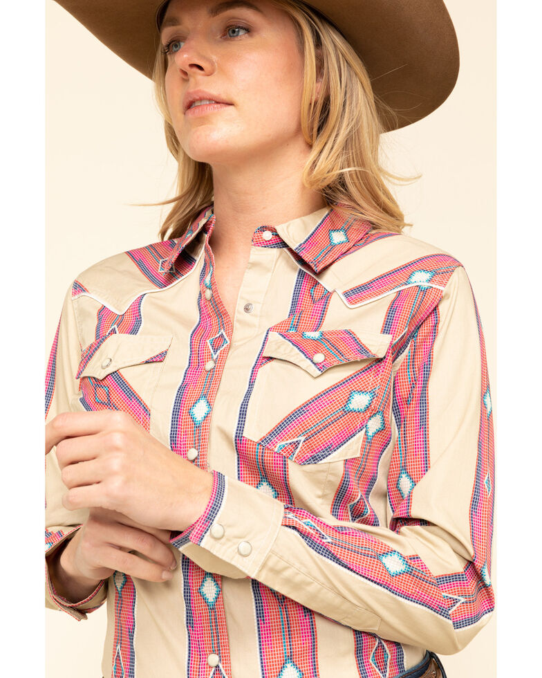 Wrangler Women's Ivory Peach Serape Stripe Long Sleeve Western Shirt, Peach, hi-res