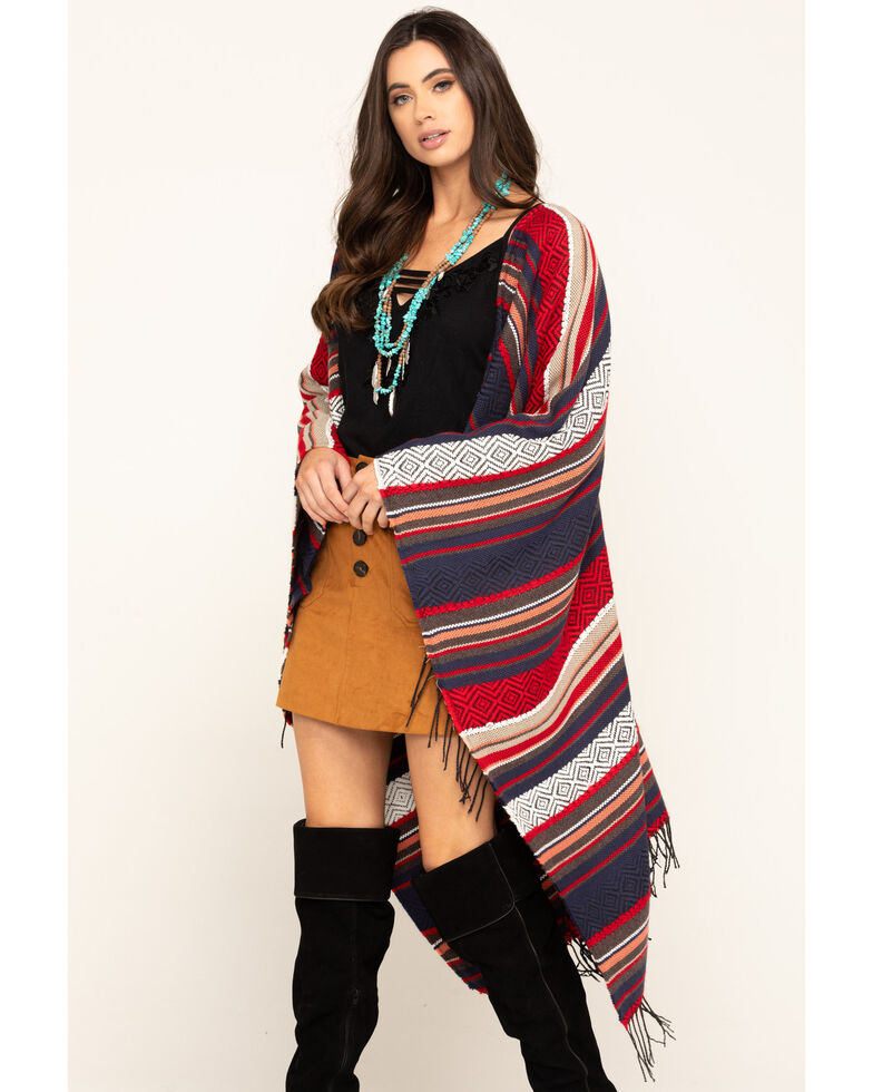 San Diego Hat Co. Women's Jacquard Woven Poncho, Multi, hi-res