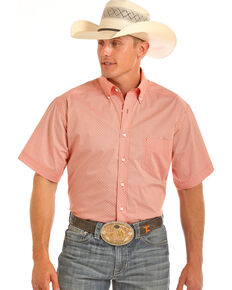 Tuf Cooper Men's Competition Fit Short Sleeve Western Shirt, Orange, hi-res