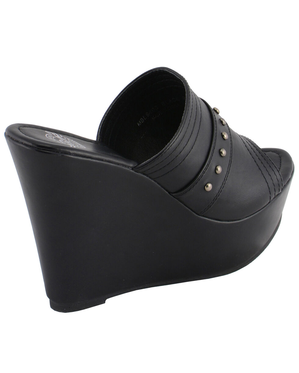 Milwaukee Leather Women's Rivet Detail Open Toe Wedge Sandals, Black, hi-res