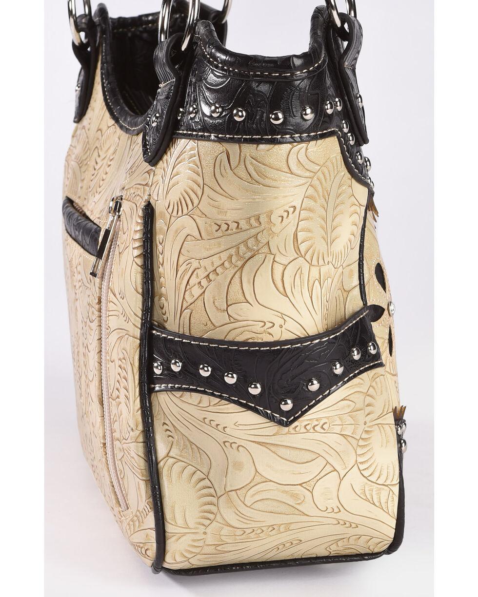 Wear N.E. Wear Women's Beige Floral Laser Cut Shoulder Bag, Beige/khaki, hi-res