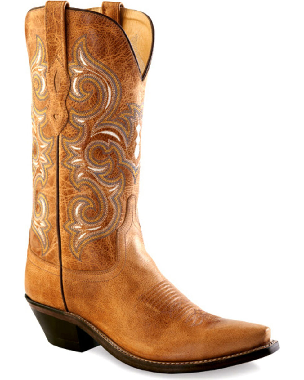 Old West Women's Rustic Tan Western Boots - Snip Toe  , Tan, hi-res