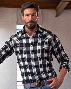 Ryan Michael Men's Ikat Gingham Shirt, Black, hi-res