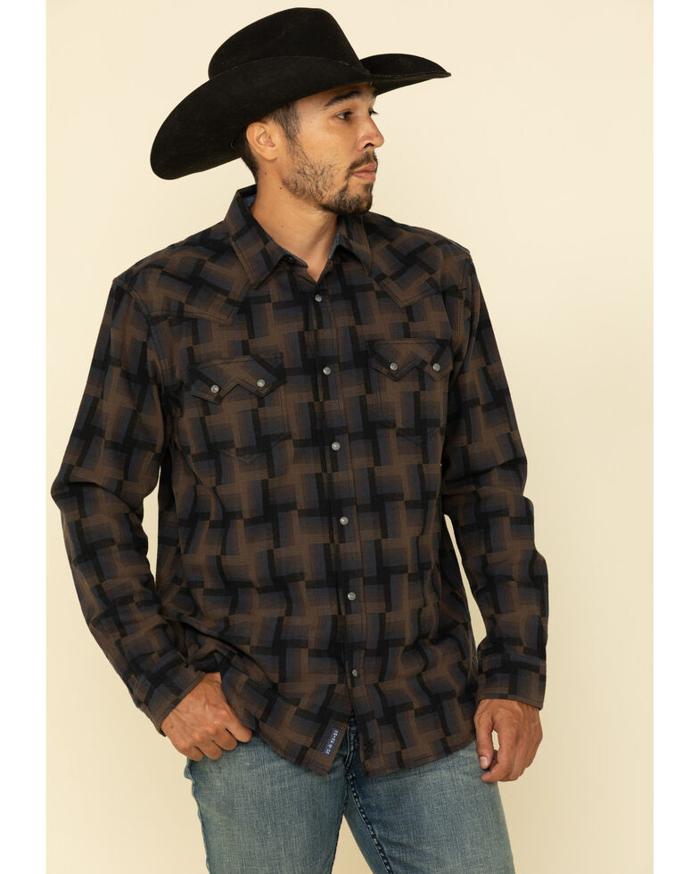 Moonshine Spirit Men's Maze Dobby Grid Geo Print Long Sleeve Western Flannel Shirt , Brown/blue, hi-res