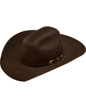 Ariat Boys' Chocolate Wool Felt 3 Piece Buckle Cowboy Hat, Chocolate, hi-res